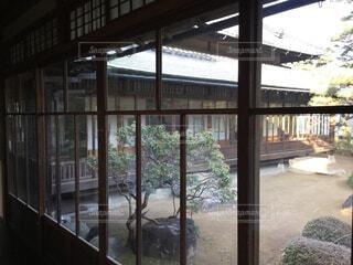 建物,屋内,庭,窓,ガラス,家,ドア,日本庭園,日本家屋,草木,眺め,お屋敷,豪邸,戦前,放棄,ゆがみガラス