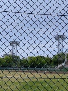 空,屋外,緑,青空,金網,フェンス,照明,快晴,野球場,日中
