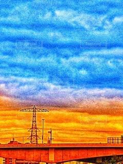 鉄塔と夕焼けの写真・画像素材[4831359]