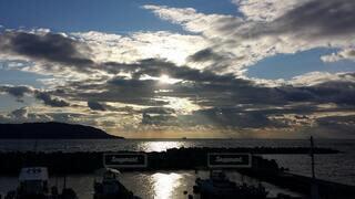 自然,風景,空,屋外,湖,太陽,ビーチ,雲,夕暮れ,船,水面