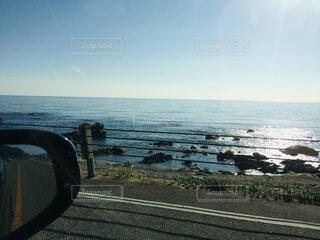 風景,海,空,屋外,ビーチ,雲,水面,海岸,水平線,うみ,ミラー,日本海,眺め,日中,笹川流れ