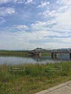 自然,空,橋,屋外,雲,堤防,川,水面,田舎,草