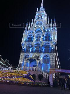 空,建物,夜,観光地,照明,九州,明るい,ハウステンボス,クリスマス ツリー