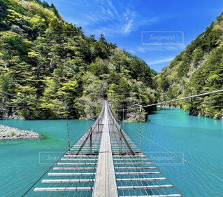 空,屋外,湖,ボート,綺麗,水面,山,樹木,旅行,静岡,夢の吊り橋,寸又峡