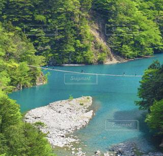 自然,橋,屋外,湖,川,水面,山,樹木,夢のつり橋