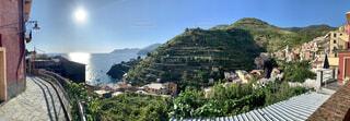自然,風景,空,屋外,山,家,樹木,フランス,海岸沿い,おしゃれ,海の村