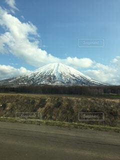 自然,空,雪,屋外,雲,道路,北海道,山,草,羊蹄山