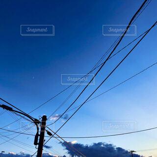 風景,空,屋外,雲,夕方,電線