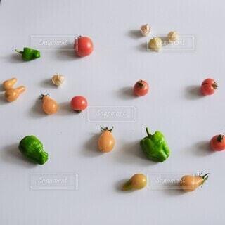 色とりどりのミニ野菜をちりばめて野菜模様の写真・画像素材[4661649]