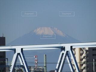 空,富士山,屋外,青空,霧,山,鉄橋