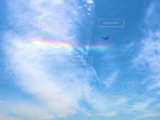 空,屋外,雲,飛行機,虹,飛ぶ,環水平アーク