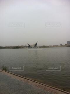 空,屋外,湖,ボート,船,水面,霧