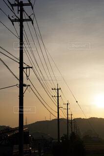 朝日に照らされた電柱の写真・画像素材[4486444]