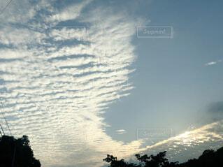 空,屋外,雲,夕暮れ,夕方,筋雲