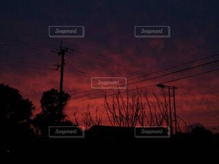 真っ赤な夕暮れの写真・画像素材[4388470]