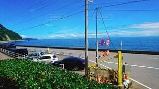 海,空,屋外,車,海岸,景色,熱海,車両