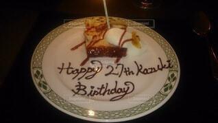 皿の上のケーキの写真・画像素材[4389489]