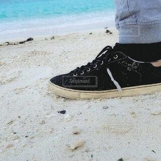 海,靴,屋外,砂,ビーチ,水面,人物,人,履物