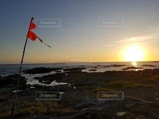 海,空,夕暮れ,水面,旗,房総
