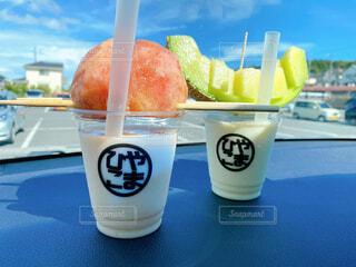 食べ物,空,ジュース,フルーツ,ストロー,カップ,メロン,アイスクリーム,ドリンク,桃,ファストフード,飲料,ソフトド リンク