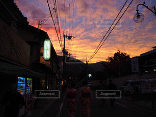 京都,夕焼け,夕方,景色,オレンジ,嵐山