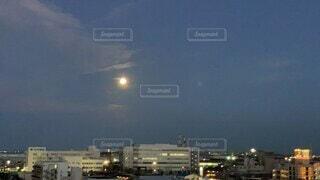空,夜,屋外,月,高層ビル,満月,バックムーン