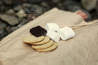 マシュマロとチョコレートとグラハムクラッカーでスモアを作る準備の写真・画像素材[4408431]
