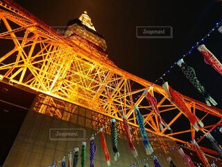 東京タワーに照らされるこいのぼりの写真・画像素材[4412605]