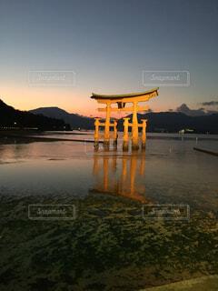 夕暮の厳島神社の写真・画像素材[4417395]