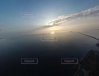 自然,海,空,屋外,太陽,ビーチ,雲,船,水面,空撮,フォトジェニック
