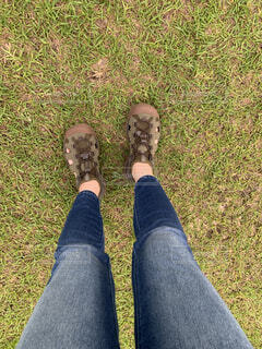 草の中に立っている人の写真・画像素材[4439484]