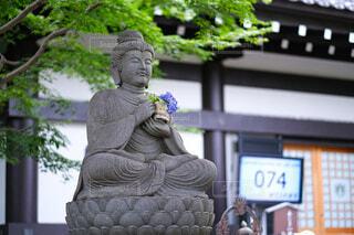 紫陽花を持つお地蔵様の写真・画像素材[4591617]
