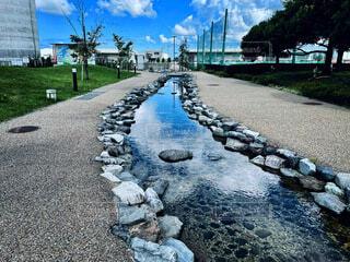 背景に水が入った庭の写真・画像素材[4841688]