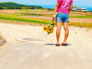 ひまわりの花束を持ち立つ後ろ姿の女性の写真・画像素材[4466759]