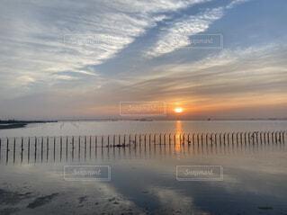 自然,風景,空,屋外,湖,ビーチ,雲,砂浜,夕暮れ,水面,海岸,反射,日の出,くもり,日中,千葉フォルニア