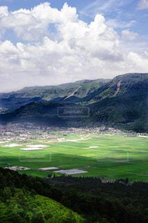 背景に山のある大きな緑の畑の写真・画像素材[4466359]