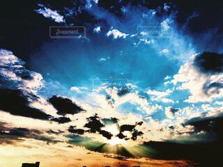 自然,風景,空,ビル,屋外,太陽,雲,夕暮れ
