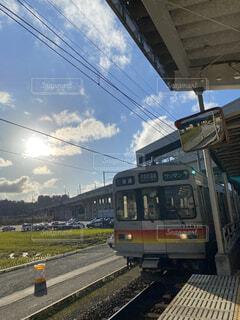 空,屋外,鉄道,秋晴れ,富山,車両,宇奈月,陸上車両