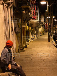 風景,建物,夜,自転車,都会,道,人,歩道,通り,真夜中,夜遊び