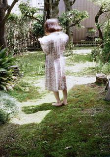 女性,風景,屋外,本,日光,光,草,樹木,スカート,人,村上春樹,草木,ガーデン