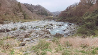 自然,屋外,湖,川,水面,山,草,樹木,河川地形