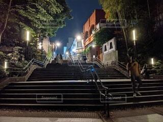 公園,夜,屋外,階段,都会