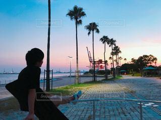 男性,自然,風景,空,太陽,ビーチ,後ろ姿,夕焼け,ギター,景色,男,樹木,人物,人,ヤシの木,兄,パーム