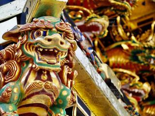神社,像,仏教,金,ゴールド,獅子,神獣