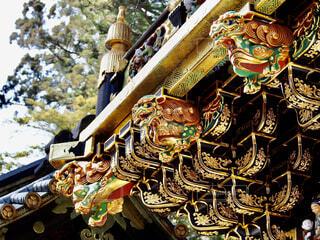 神社,アート,日光,像,日光東照宮,栃木,金,獅子