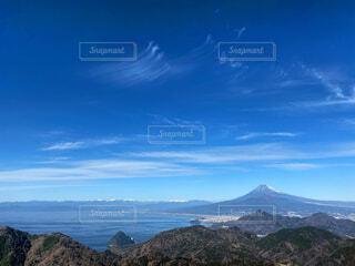 風景,海,富士山,晴れ,青空,青,水面