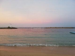 自然,風景,海,空,屋外,ビーチ,雲,水面,海岸,灯台,早朝
