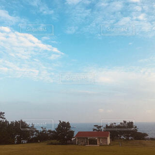 自然,風景,海,空,芝生,屋外,雲,小屋,樹木