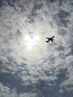 空,雲,飛行機,光,ハート