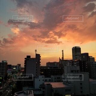 風景,空,建物,雲,夕暮れ